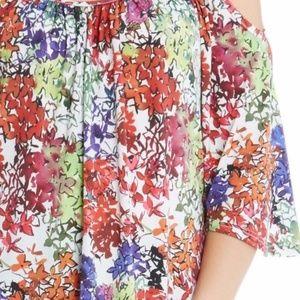 Karen Kane Tops - Karen Kane Top Floral Cold Shoulder Angel 3/4 Slv